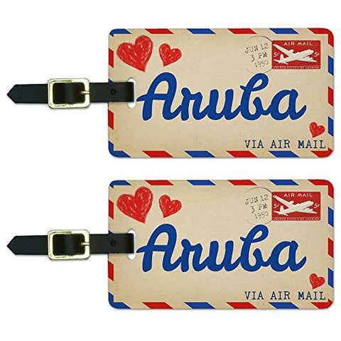 Graphics & More Air Mail Postcard Love for Aruba Luggage Suitcase Carry-on Id Tags, White