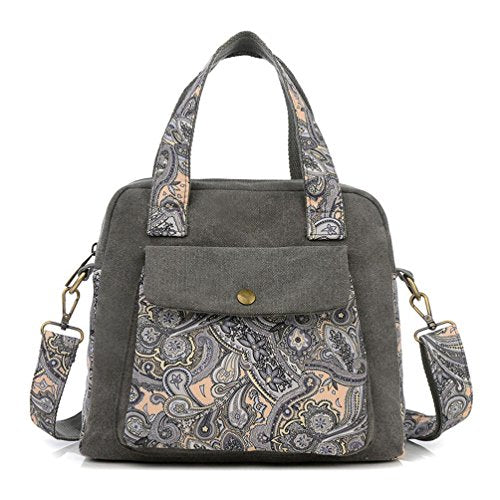 BIBITIME Bohemian Crossbody Bag for Women Handbag Floral Tote Hobo Shoulder Bag Messenger Bag Cross Body Bag Travel Bag Back to School University /College Campus Bag (11.02 X9.45 5.12 IN, Dark Grey)