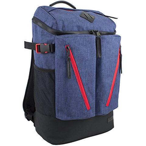 Fuel High Capacity Cargo Backpack with Ergonomic Padded Support System, Navy Chambray/Poppy Red