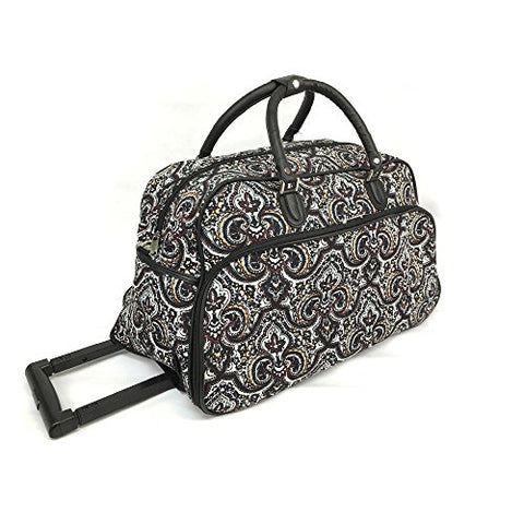 Tribal Paisley Floral Medallion Design Rolling Lightweight Carry On Duffel Bag, Lush Modern