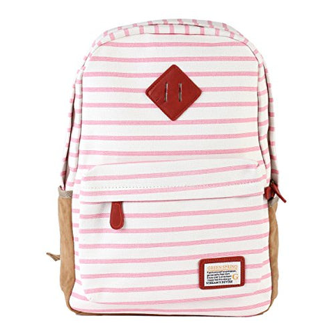 Damara Womens Suede Yoked Striped Canvas Backpack,Pink