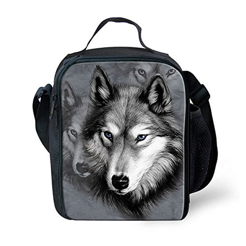 doginthehole Wolf Face Prined Cool Kids Lunch Bags Lunch box with Bottle Holder