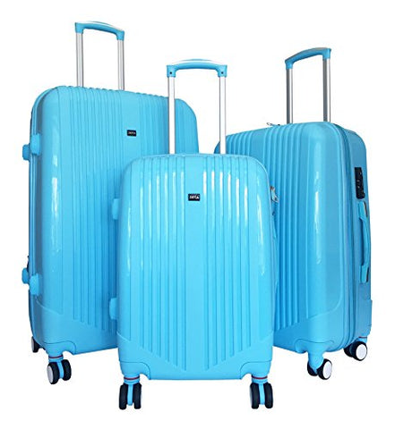3 Pc Luggage Set Hardside Rolling 4Wheel Spinner Upright Carryon Travel Sky Blue