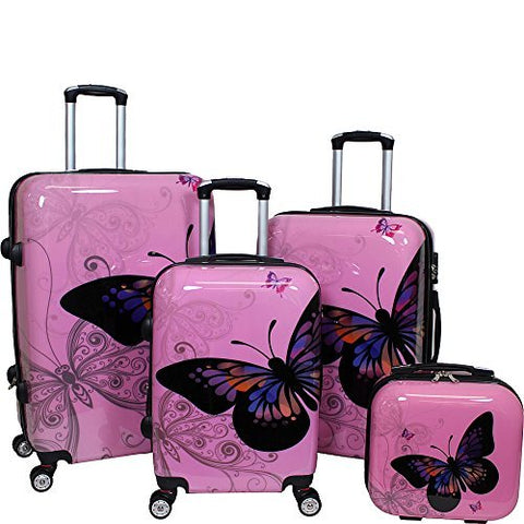 World Traveler 4-Piece Hardside Upright Spinner Luggage Set, Light Pink