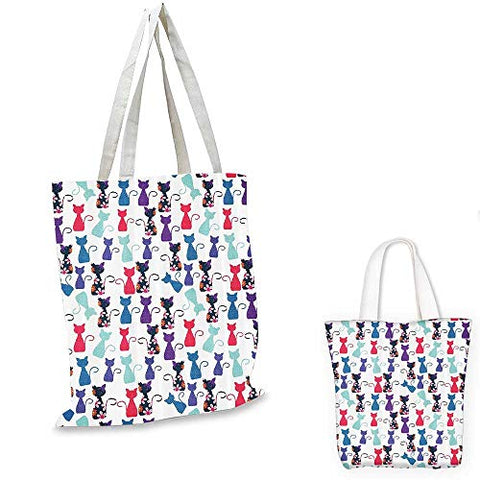 Cat Print Decorations easy shopping bag Baby Animals in Colors with Flowers Pattern emporium
