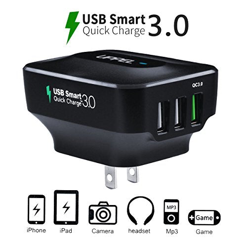 Qc3.0 Wall Charger Uppel 25W Three Usb Travel Wall Charger With Qualcomm Qc 3.0 (4X Faster) And