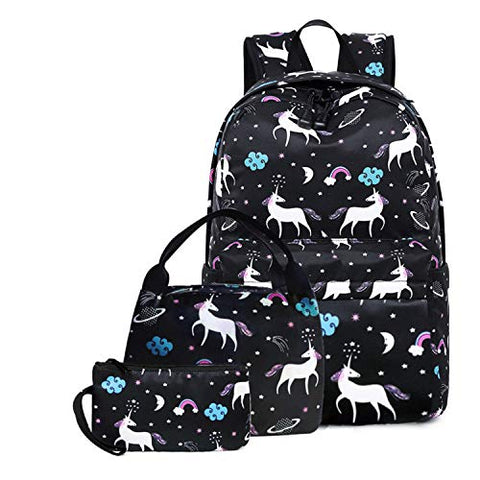 Unicorn School Backpack Waterproof Canvas Pencil Bag 3PC Set