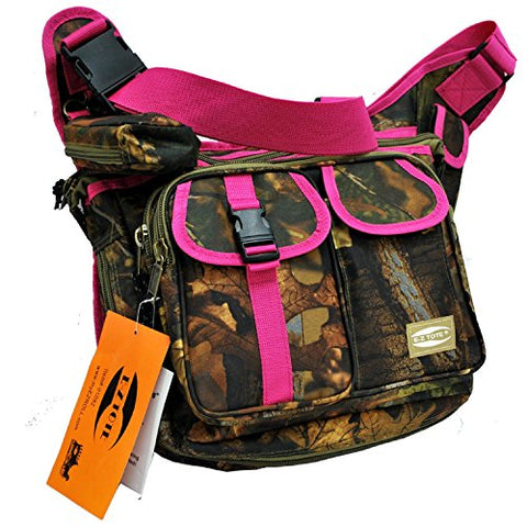 """E-Z Tote"" Real Tree Print Hunting Shoulder Bag in 3 Colors (Pink Trim)"