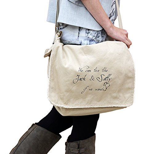 We Can Live Like Jack And Sally If We Want Nightmare 14 oz. Authentic Pigment-Dyed Raw-Edge Messenger Bag Tote