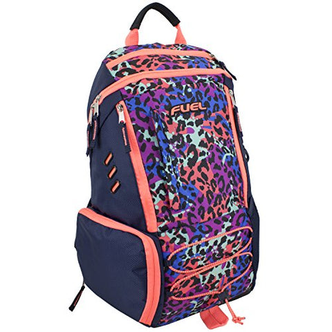 Fuel Ultimate Extreme Bungee Backpack with Multiple Compartments (Coral Sizzle/Tie Dye Cheetah)