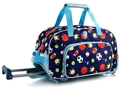 Kids 18 Inch Rolling Duffel Bag Shoulder Bag - Sports [Blue]