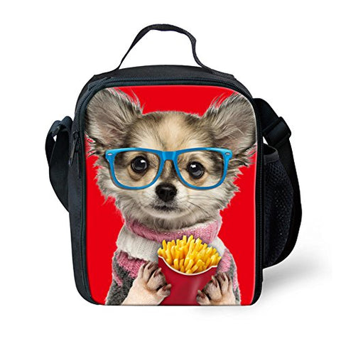 Doginthehole Kid'S Feral Pug Dogs Design Food Bags Cute Neoprene Lunch Bag For Camping