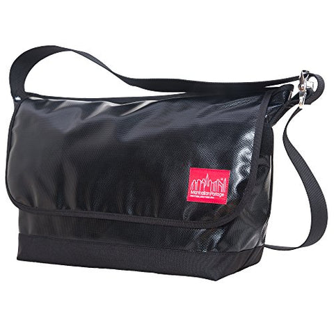 Manhattan Portage Vinyl Vintage Messenger Bag Large Ver2, Black, One Size