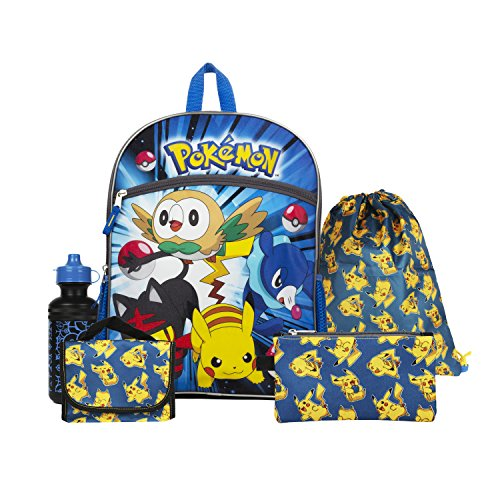"Pokemon Blue and Yellow 16"" Backpack Back to School Essentials Set"