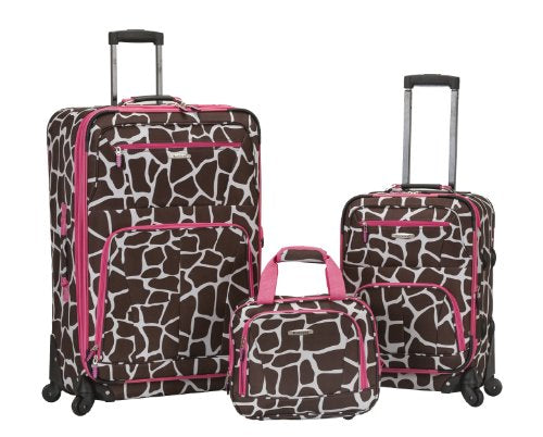 Rockland Luggage 19 Inch 28 Inch Expandable Spinner 14 Tote, Pink Giraffe, One Size