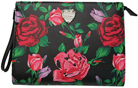 Betsey Johnson Women's Cosmetic Wristlet, Black/Floral