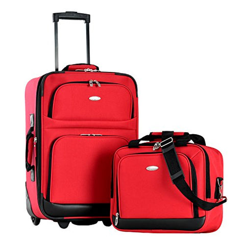 Olympia Let'S Travel 2 Piece Carry-On Luggage Set, Red