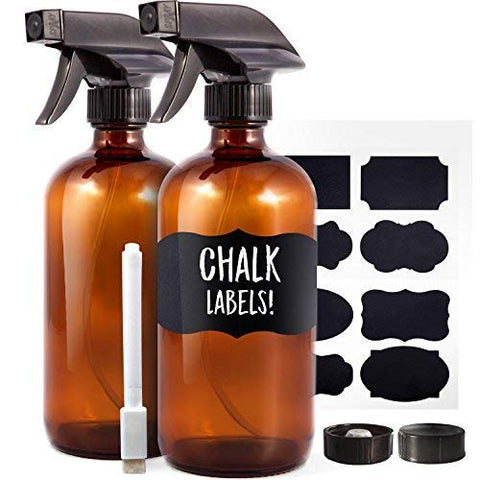 Amber Glass Spray Bottles (2 Pack, 16 oz) - Bonus: 8 Chalk Labels + Pen - Empty Refillable Bottle