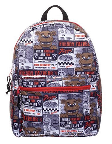 "Five Nights At Freddy'S Kids Backpack All Over Print 16"" Full Size"