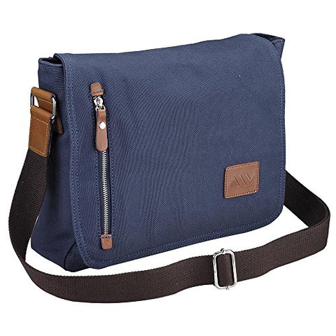 "Aw 14"" Vintage Canvas Cross Body Schoolbag Satchel Shoulder Messenger Bag Bookbag Men Women Student"