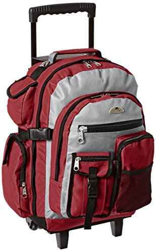 Everest Deluxe Wheeled Backpack, Burgundy, One Size