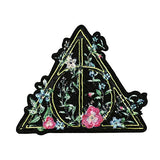 Harry Potter Deathly Hollows Symbol Patch Floral Embroidered Iron On Applique