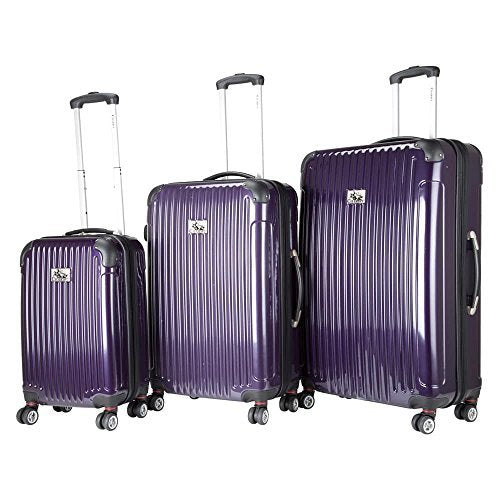 Chariot Paola 3-Piece Hardside Expandable Lightweight Spinner, Purple