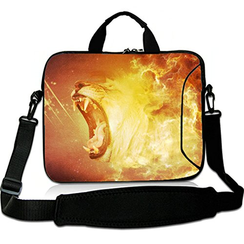 17 Inches Laptop Shoulder Bag Briefcase Fire Roar Lion Waterproof Neoprene Laptop Carrying Bag