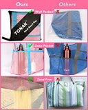 Mesh Beach Bag Toy Tote Bag Grocery Storage Net Bag Oversized Big XL with Pockets Foldable Lightweight for Family Pool Pink Color