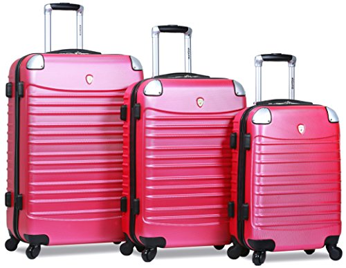 Dejuno Impact Hardside 3-Piece Spinner Luggage Set, Pink