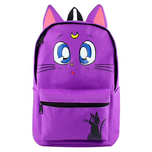 YOURNELO Cartoon Sailor Moon Backpack Rucksack for Girls (Purple Cat Lunar)
