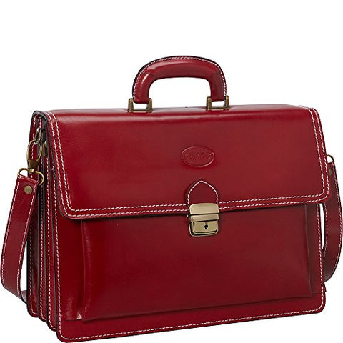 Sharo Leather Bags Italian Leather Computer Brief And Messenger Bag (Apple Red)