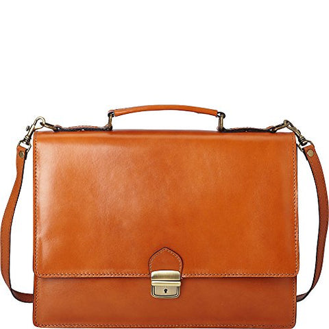 Sharo Leather Bags Thin Style Italian Leather Brief and Messenger Bag (Apricot)