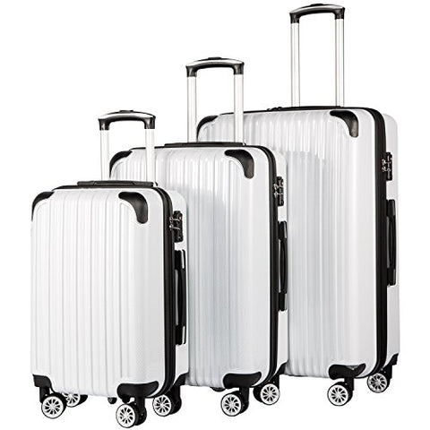 Coolife Luggage Expandable 3 Piece Sets Pc+Abs Spinner Suitcase 20 Inch 24 Inch 28 Inch (White