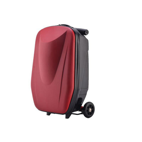 Luggage-foldable scooter suitcase with multi-functional suitcase fashion style travel(20 inch)(C:Red wine)