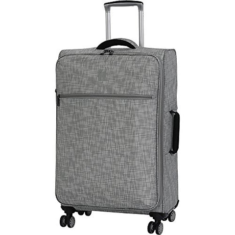 "It Luggage 26.8"" Stitched Squares 8 Wheel Lightweight Expandable Spinner, Flint Grey"
