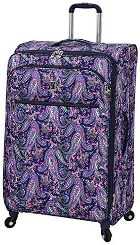 London Fog 29'' Mayfair Pink & Navy Paisley Spinner Luggage Luggage 29 Inches Pink/navy blue