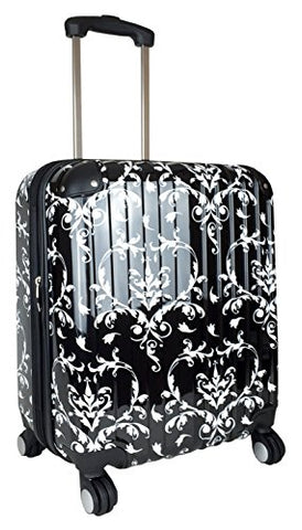 Carryon Travel Bag Rolling 4 Wheel Spinner Lightweight Luggage Case Damask