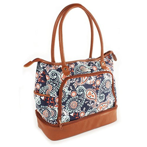 Fit & Fresh Voyager Commuter Bag, Carry On Travel Tote, Zippered Shoulder Bag (Navy Orange Paisley)