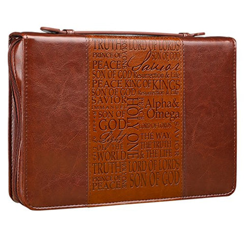 Names Of Jesus Brown Two-Tone Bible / Book Cover (Large)
