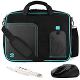 Vangoddy Pindar Aqua Blue Messenger Bag W/ Usb Hub And Wireless Mouse For Asus Transformer Book /