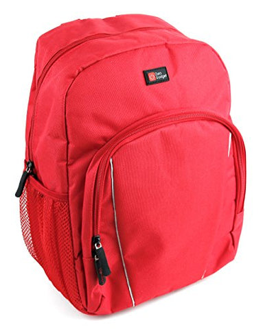 DURAGADGET Bright Red Water-Resistant Compact Backpack with Rain Cover for The Loewe Klang M1
