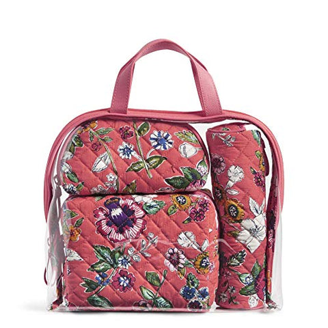 Vera Bradley Iconic 4 Pc. Cosmetic Set, Lilac Paisley, coral floral, One Size