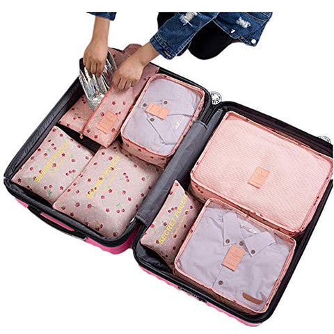 7Pcs Waterproof Travel Storage Bags Clothes Packing Cube Luggage Organizer Pouch(Pink cherry)