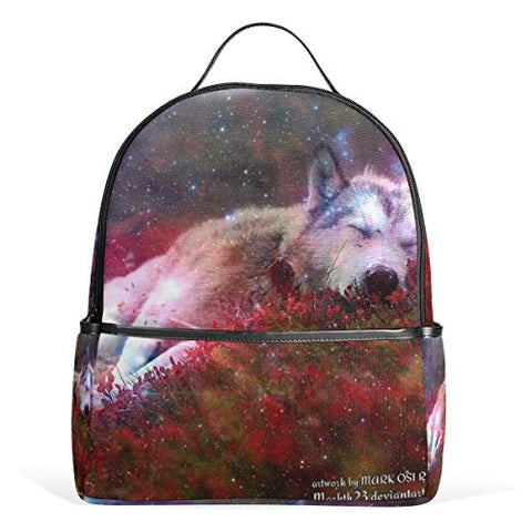 Backpack Wolf Galaxy Images Womens Laptop Backpacks School Hiking Travel Daypack