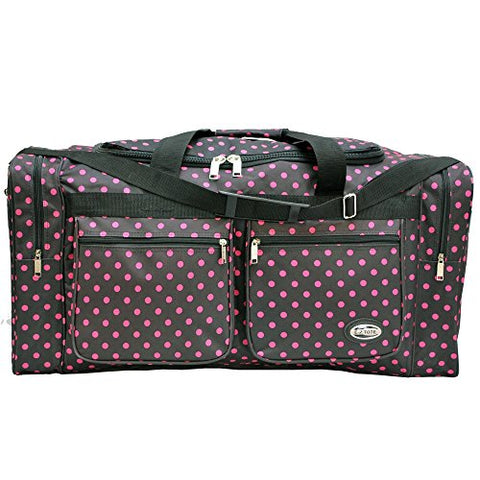 """E-Z Tote"" Polka Dots Duffle Bag/Gym Bag/Travel Bag Size 30"" with 4 Colors (Black/Pink Dots)"
