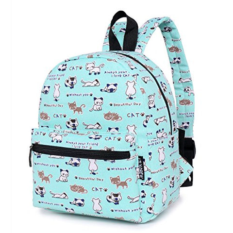 Lightweight Canvas Mini Backpack for Women, Teens (Cat Blue Small V2)