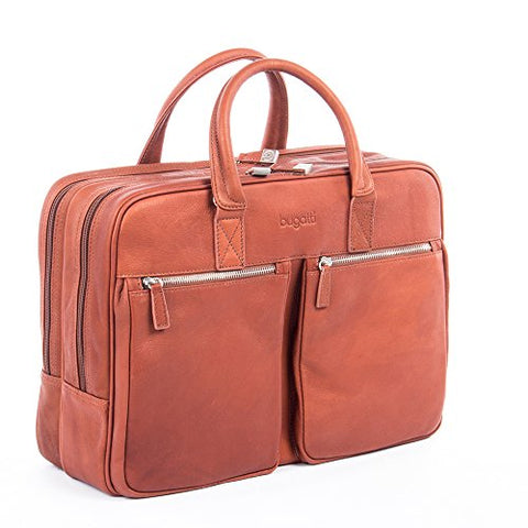 Bugatti Sartoria Zipper Large Leather Briefcase, Top Grain Leather, Cognac