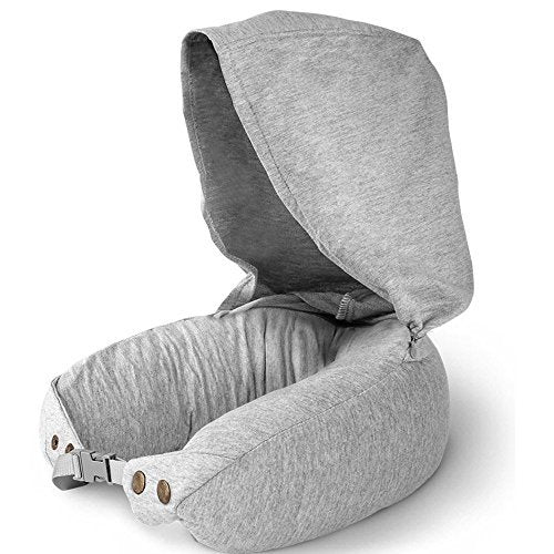 Natural Latex Travel Pillow for Airplanes- Airplane Neck Pillows Travel with Ultra Comfort for using in Airplane, Car, Train & Office - Anit-Mite Travel Neck Pillow with Hood ( 2 in 1 Hoodie)