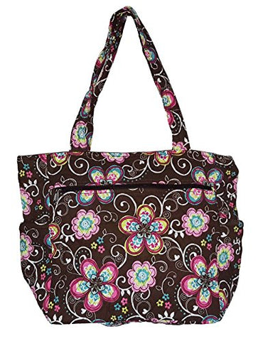 Bohemian Print Quilted Multipurpose Market Beach Large Tote Bag (Flower - Brown)